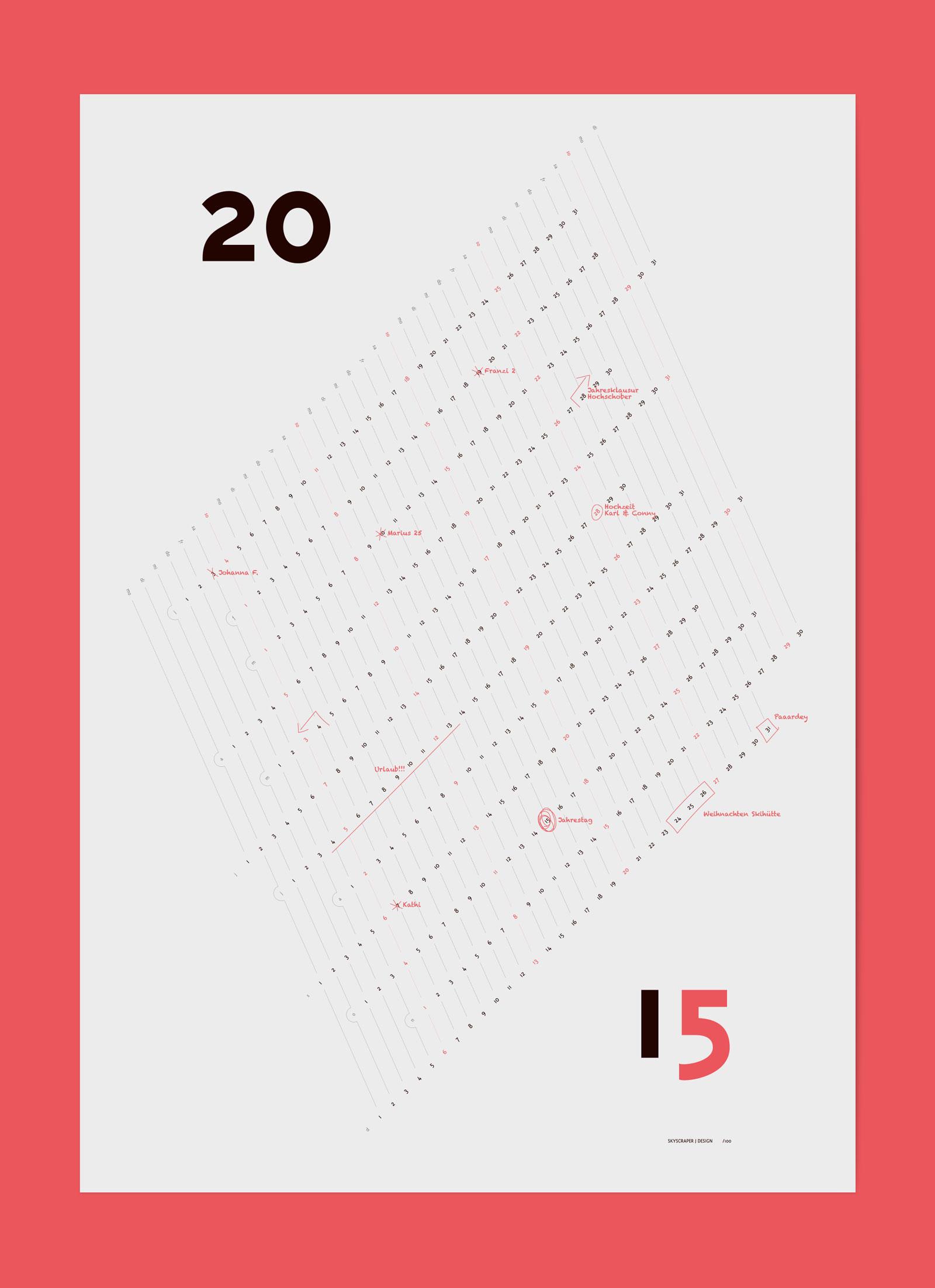 Skyscraper J Calendar 2015 Scribbles